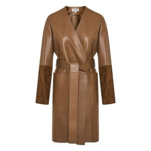 Suede-paneled wrap leather coat