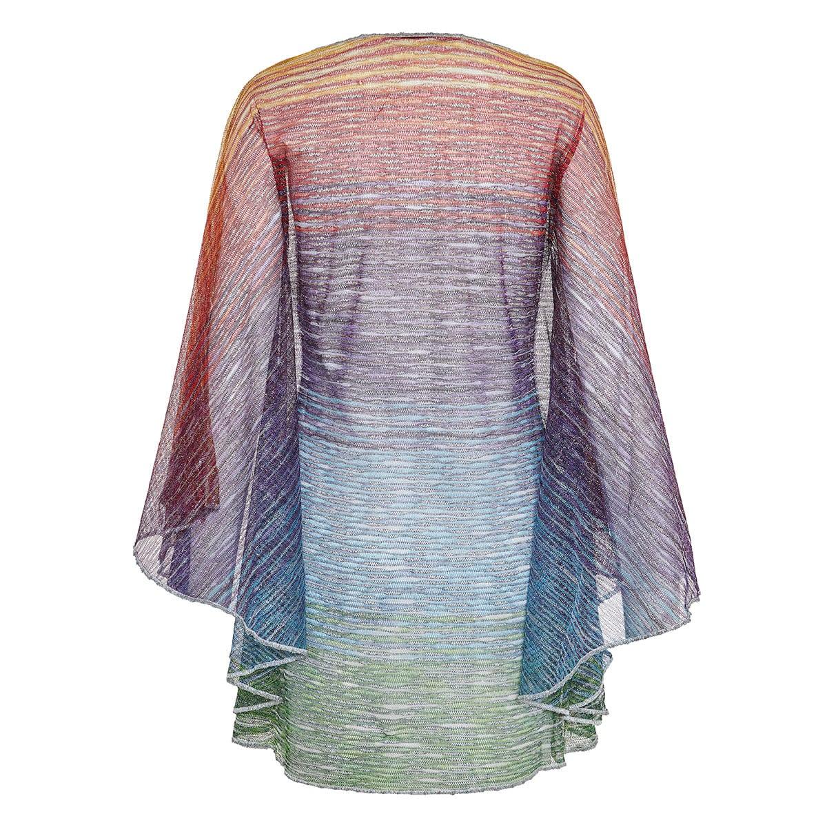 Bell-sleeved knitted beach dress