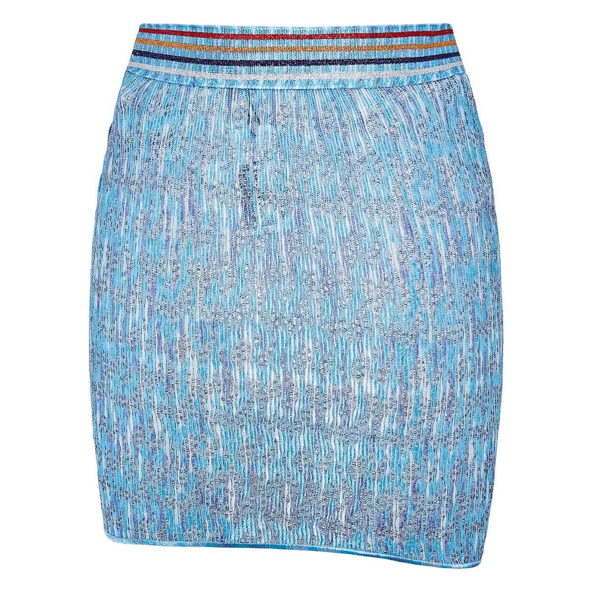 Lurex-knitted ruffled mini skirt