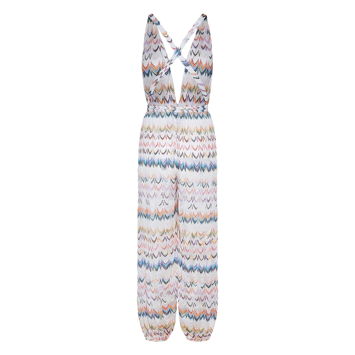 Patterned-knit halterneck jumpsuit