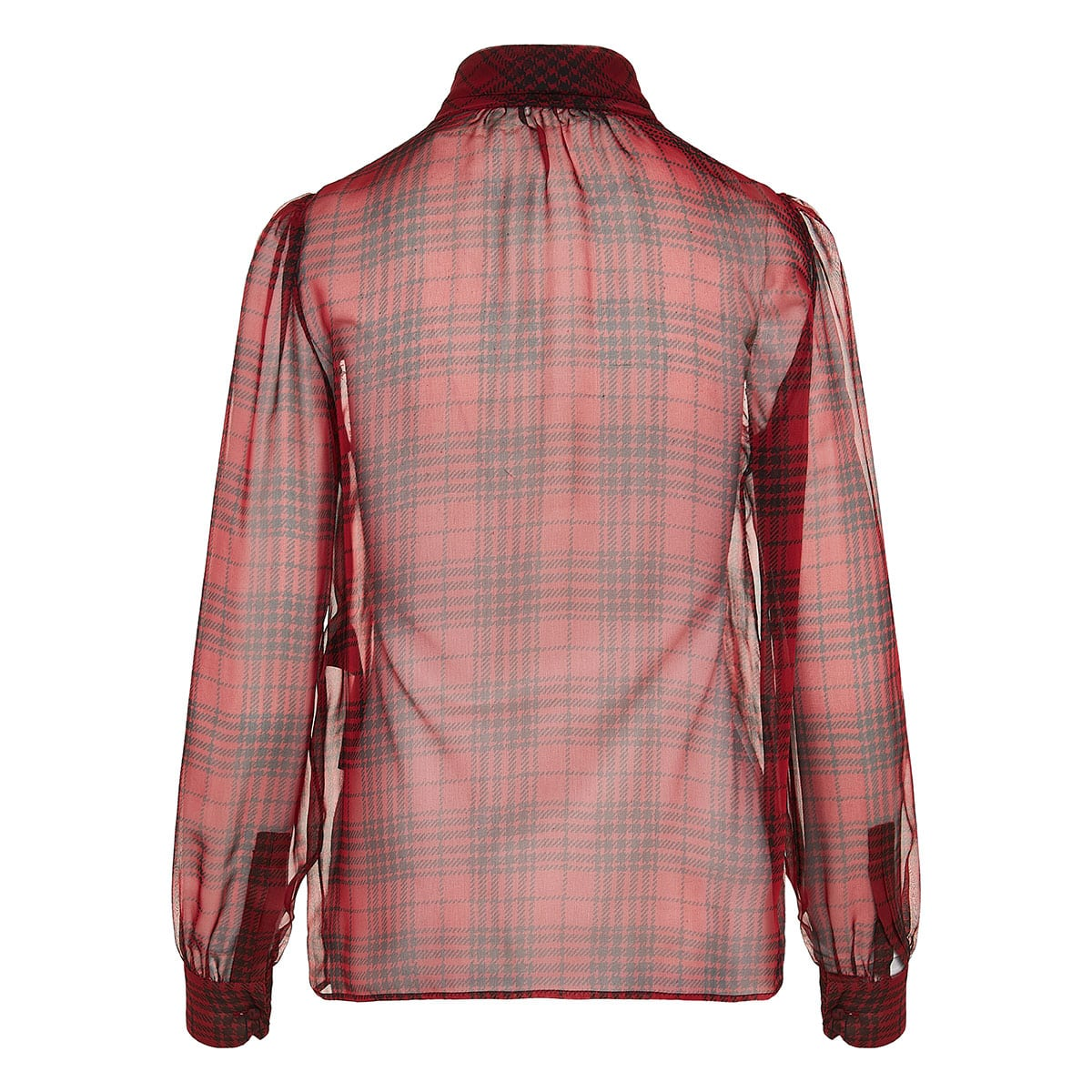 Bow-tie checked sheer shirt