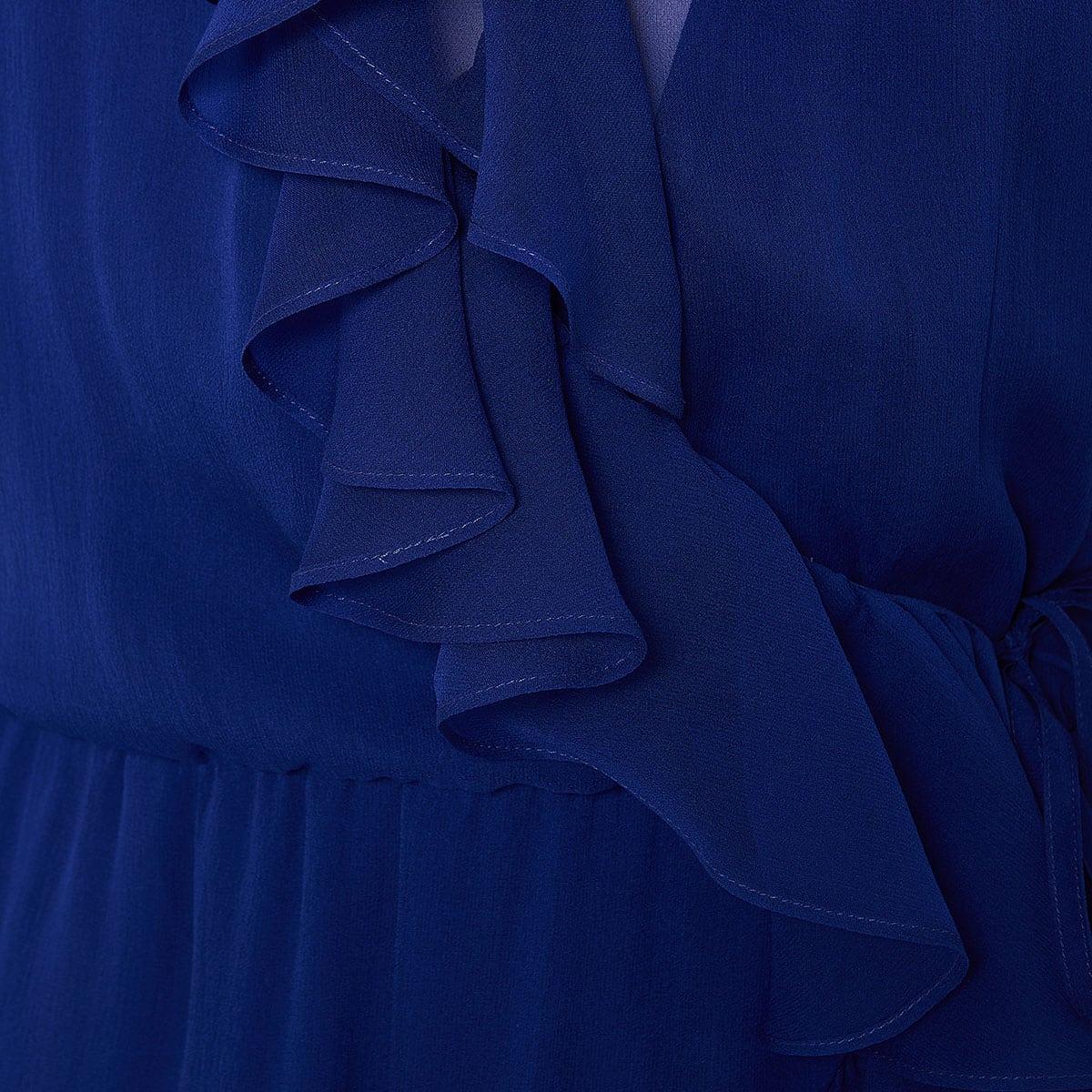 Asymmetric ruffled wrap dress