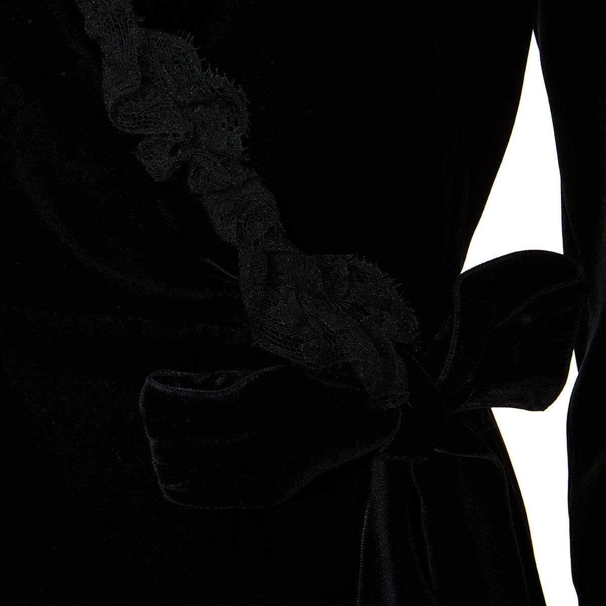 Ruffle-trimmed wrap velvet dress