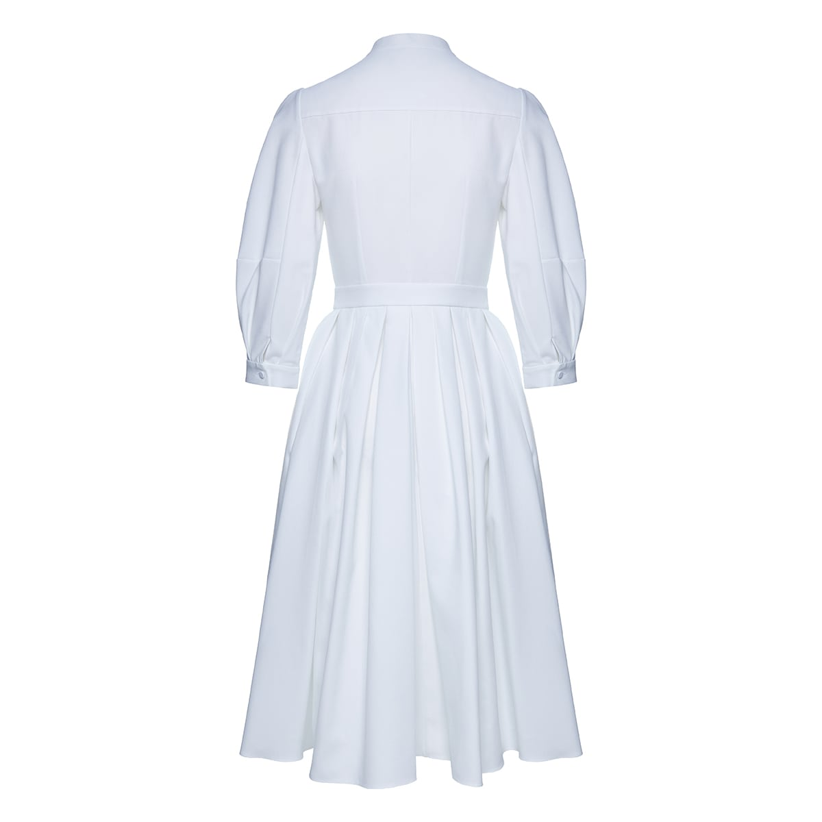 Pleated flared shirt dress
