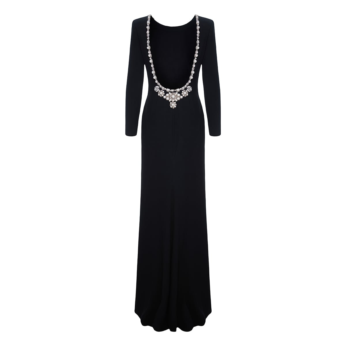 Crystal-embellished open-back gown