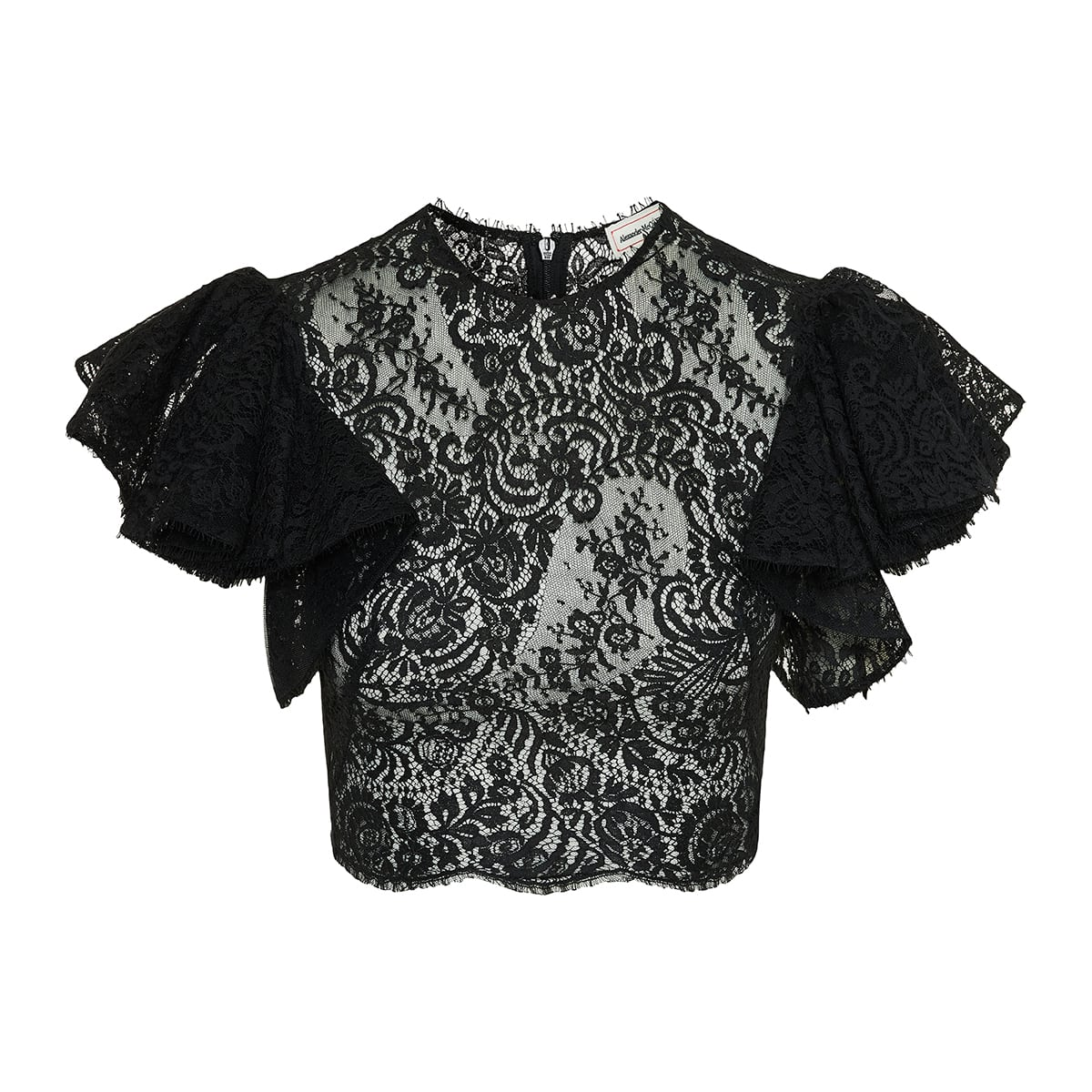 Ruffled lace cropped top