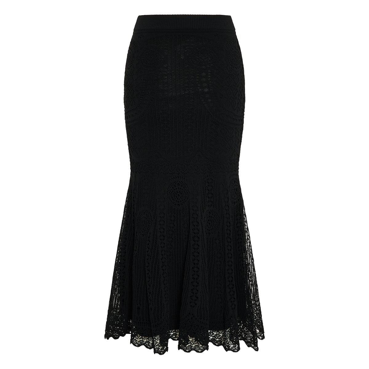 Crochet-knit flounce midi skirt