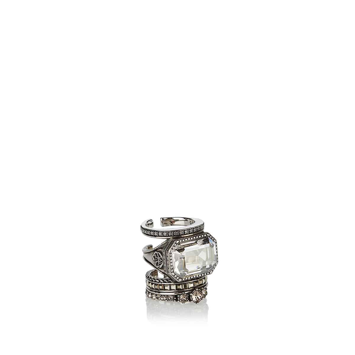 Crystal-embellished brass ring