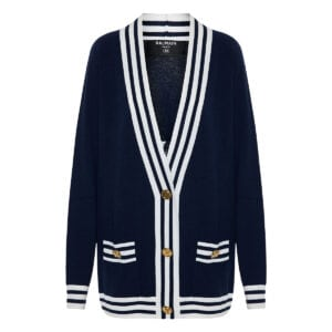 Oversized stripe-trimmed logo cardigan