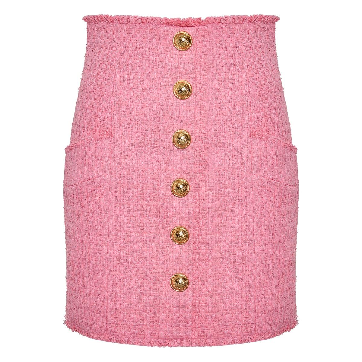 High-waist tweed mini skirt