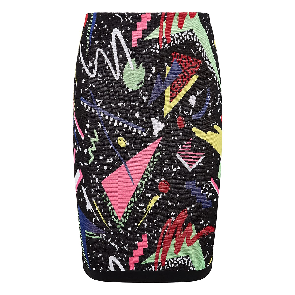 Jacquard-knit patterned pencil skirt