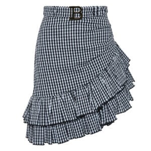 Ruffled asymmetric checked skirt