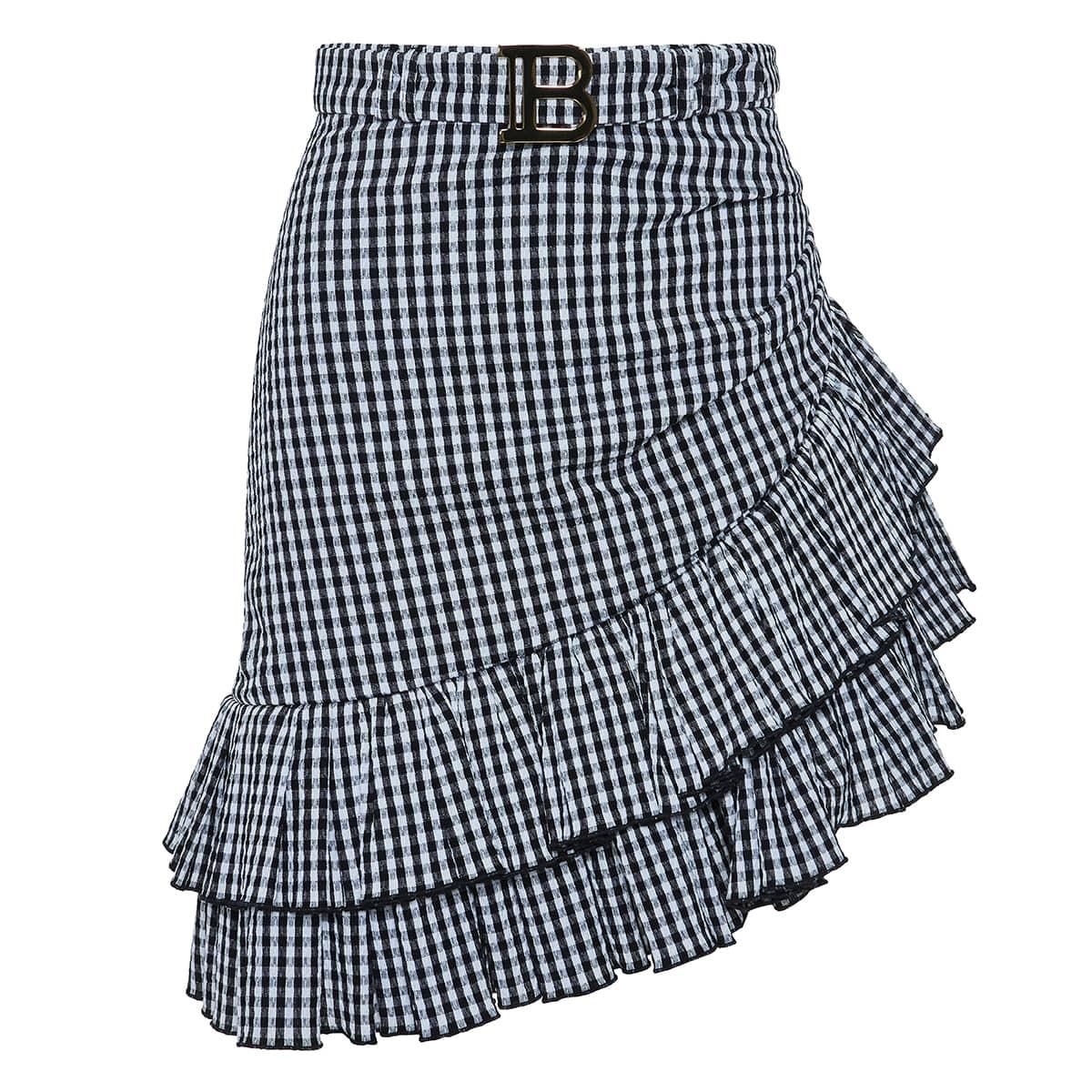 Ruffled asymmetric checked skirt