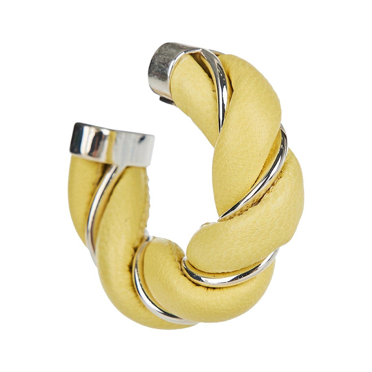 Twisted hoop leather earrings
