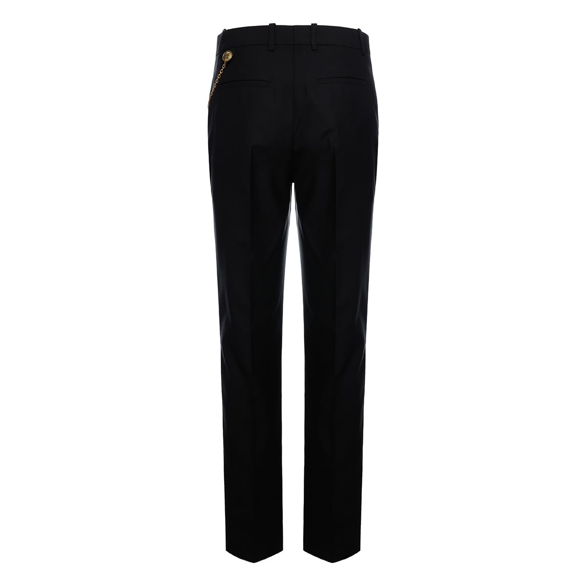 Chain-embellished cropped tailored trousers