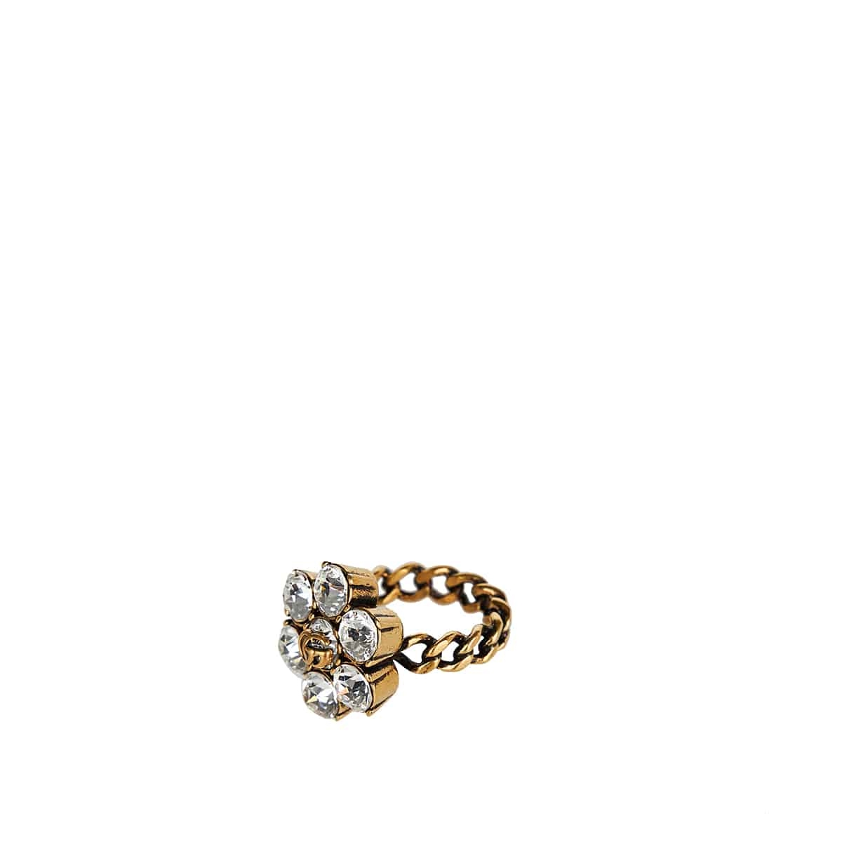 GG crystal and brass ring