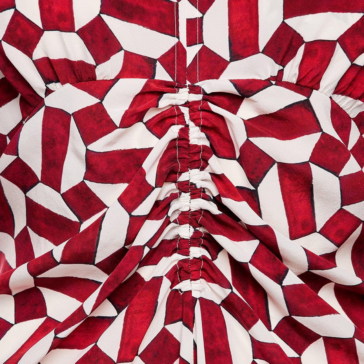Albi printed ruched midi dress