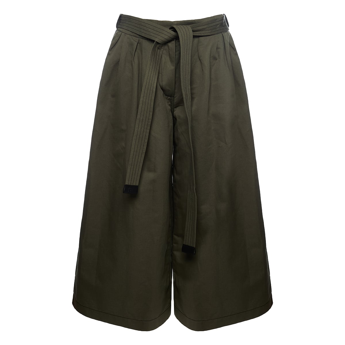 Belted cotton-linen culottes