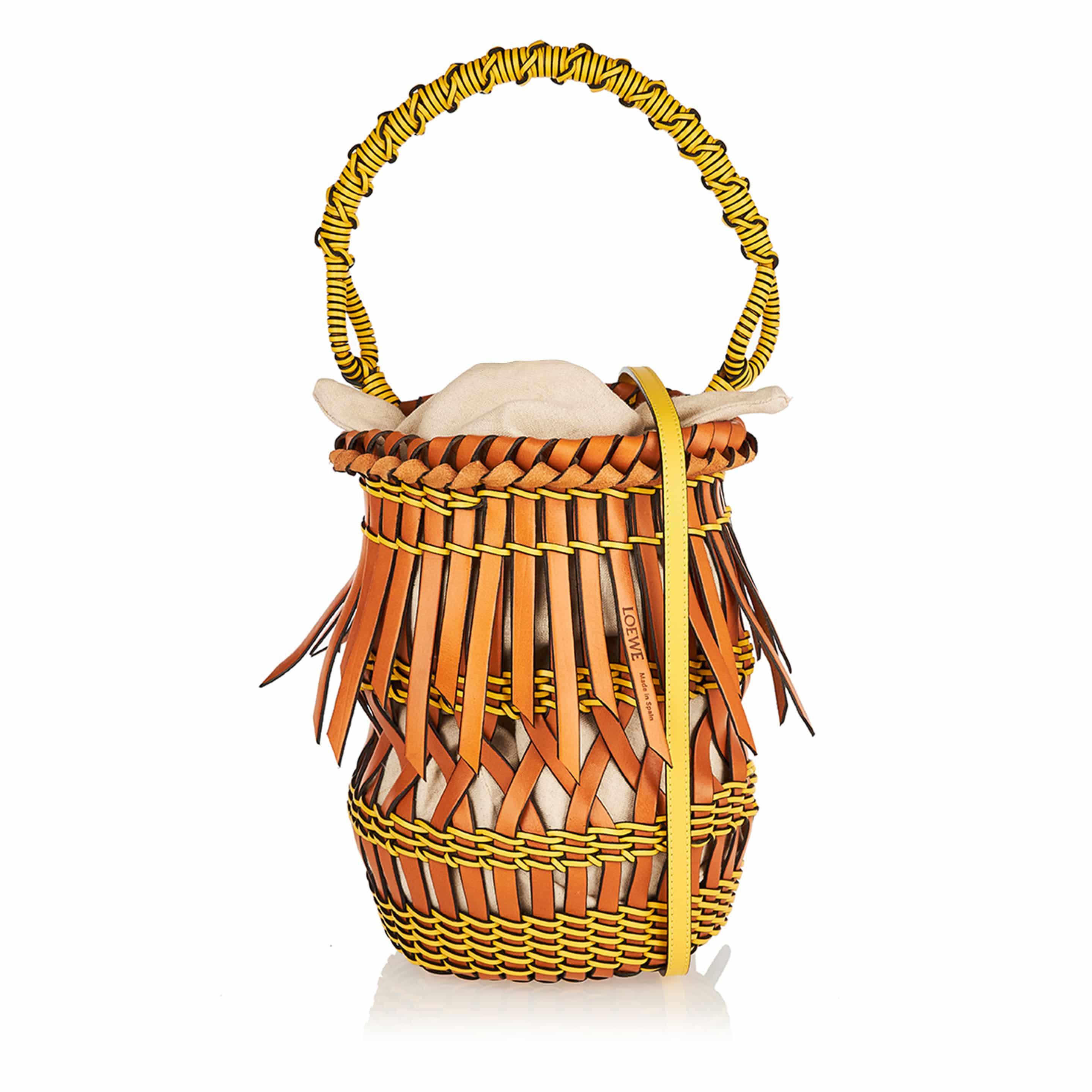 Fringes leather-woven bucket bag