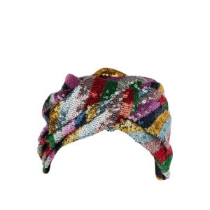 Carrie sequin striped turban