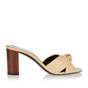 Bianca wooden-heel leather mules