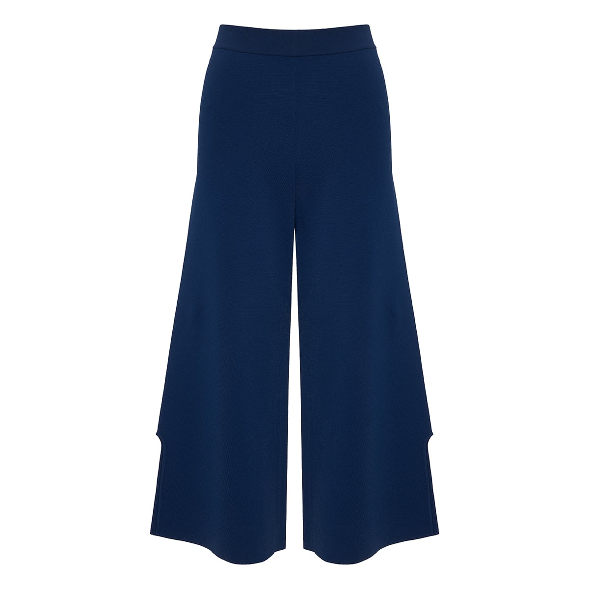 Wide-leg cropped knitted trousers