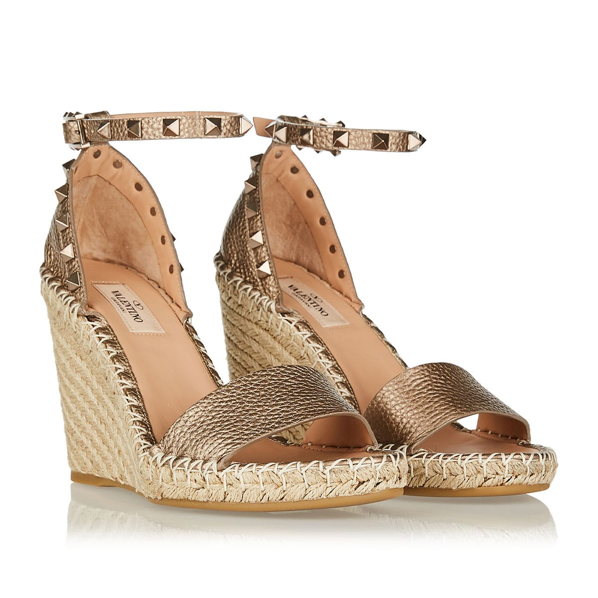 Rockstud metallic leather espadrille wedges