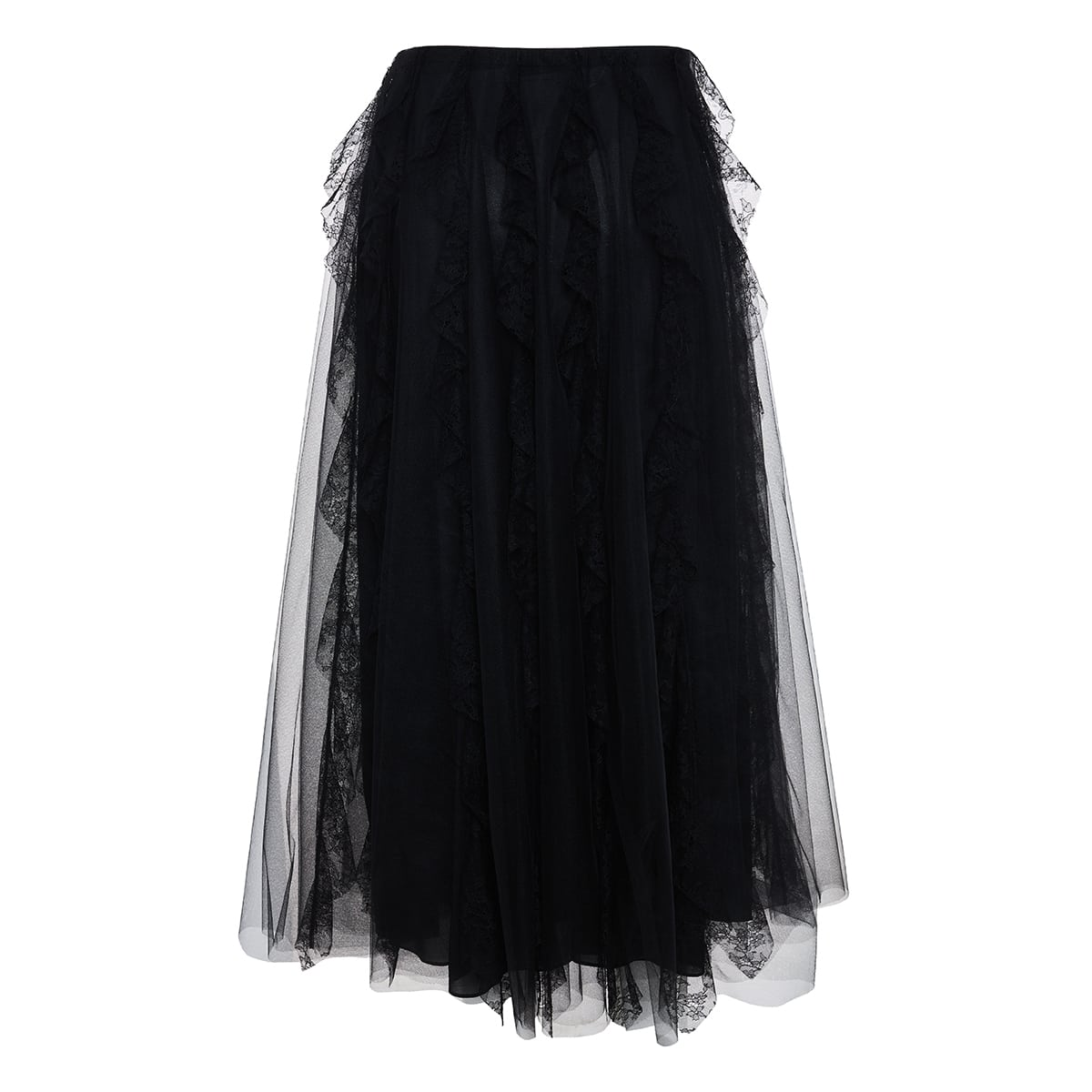 Frilled tulle pleated skirt