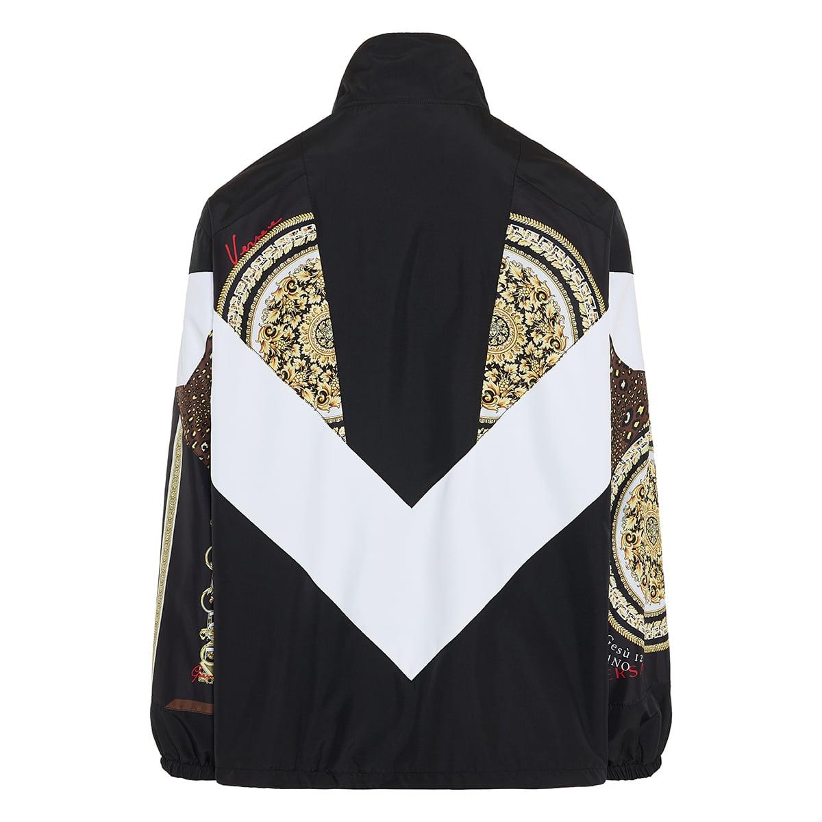 Baroque-print oversized nylon jacket
