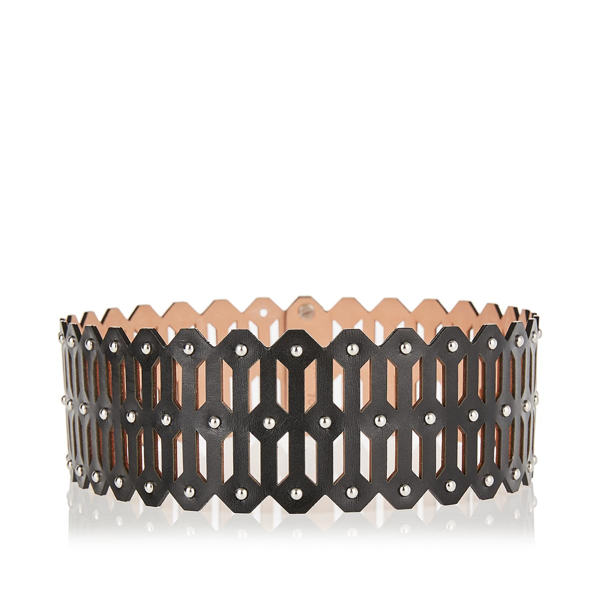 Laser-cut studded leather belt