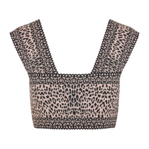 Leopard jacquard-knit cropped top