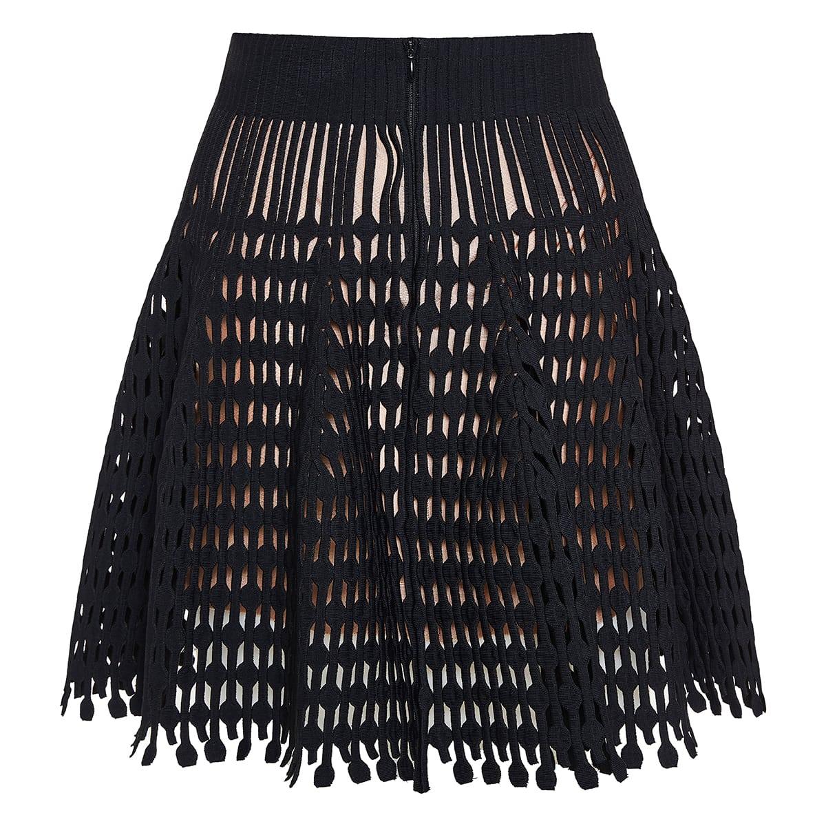 Openwork-knit flared mini skirt