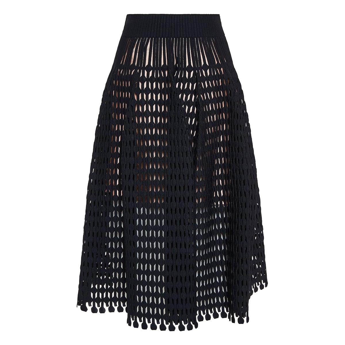 Openwork-knit flared midi skirt