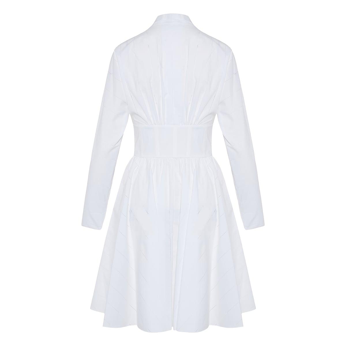 Openwork flared poplin dress