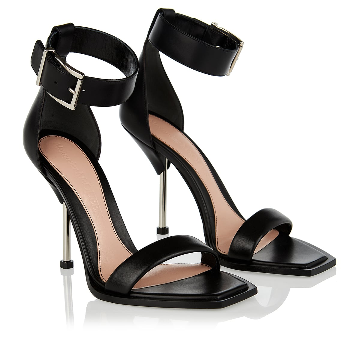 Pin-heel leather sandals
