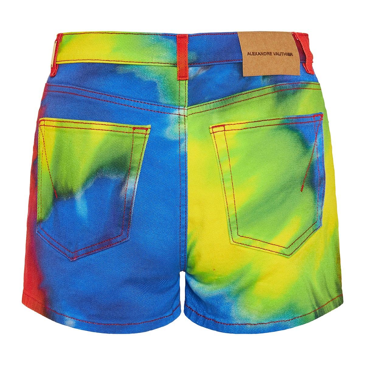 Tie-dye denim mini shorts
