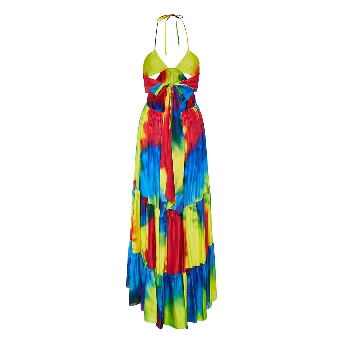 Tie-dye long tiered halterneck dress