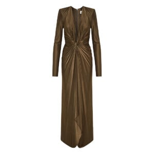 Plunging long ruched dress