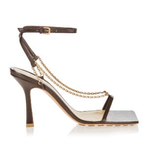 Stretch chain and leather sandals