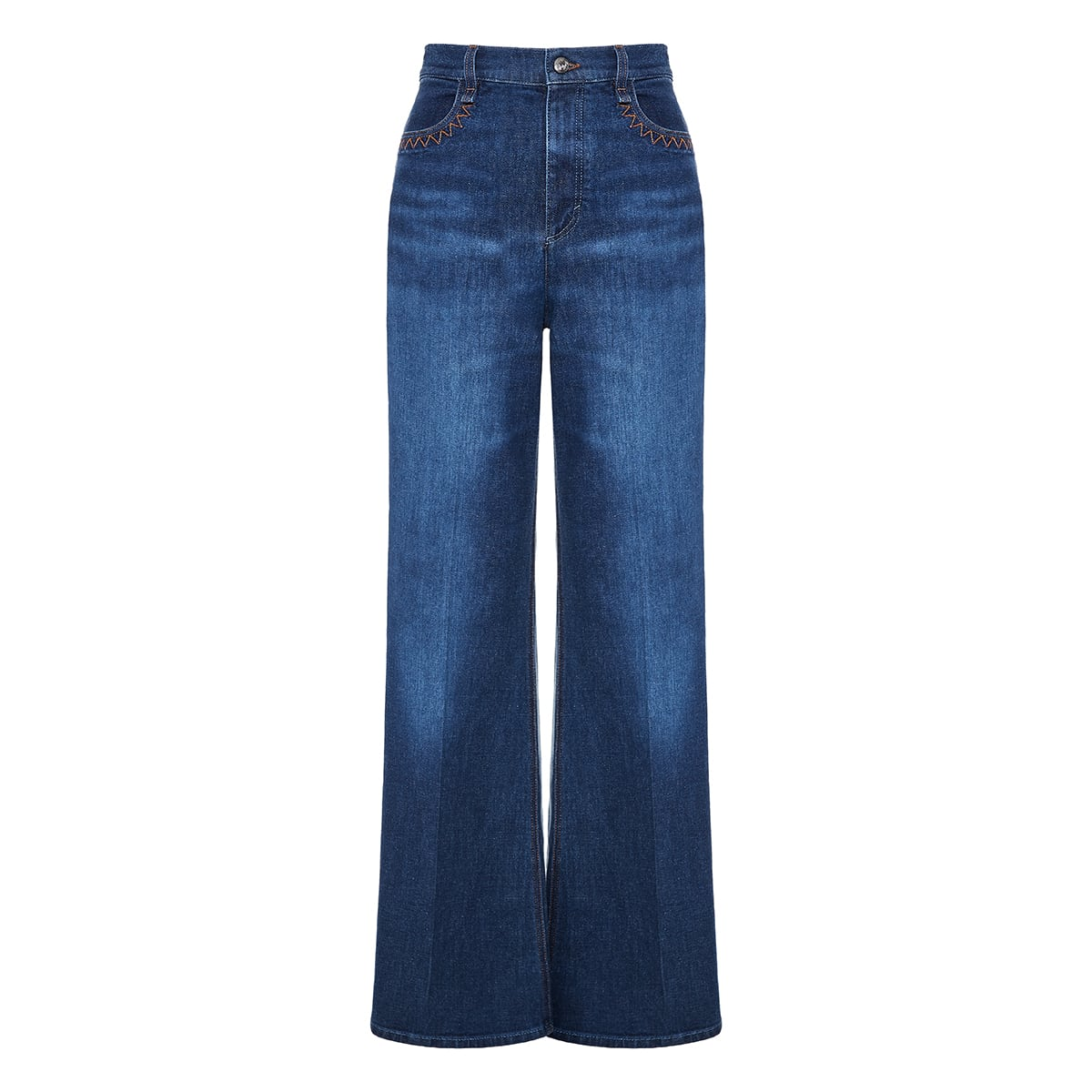 Washed flared jeans