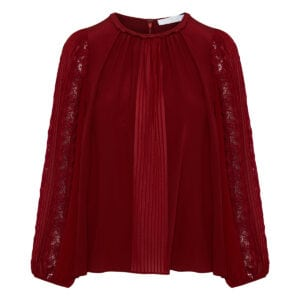 Lace-paneled pleated georgette blouse