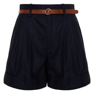 High-waist belted wool shorts