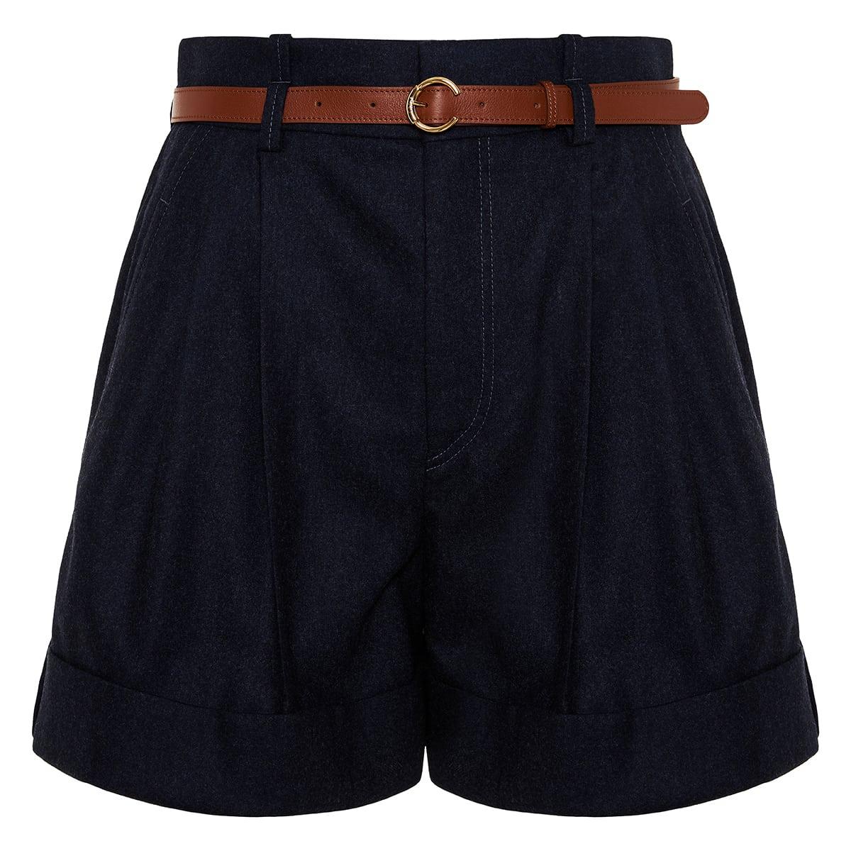 High-waist belted wool shorts