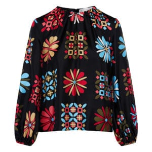 Charming puff-sleeved printed blouse