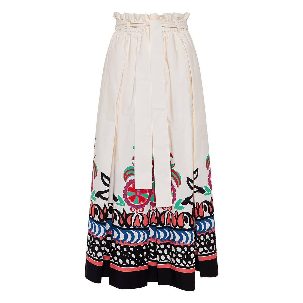 Sardegna printed poplin midi skirt