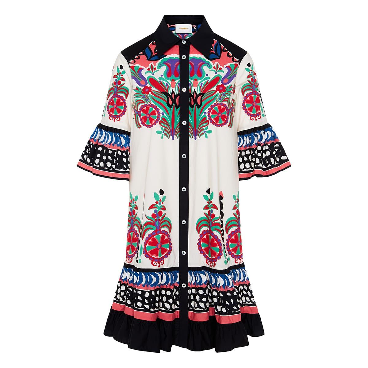 Choux short printed poplin dress