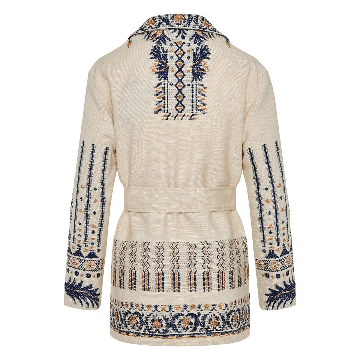 Embroidered jacquard belted cardigan