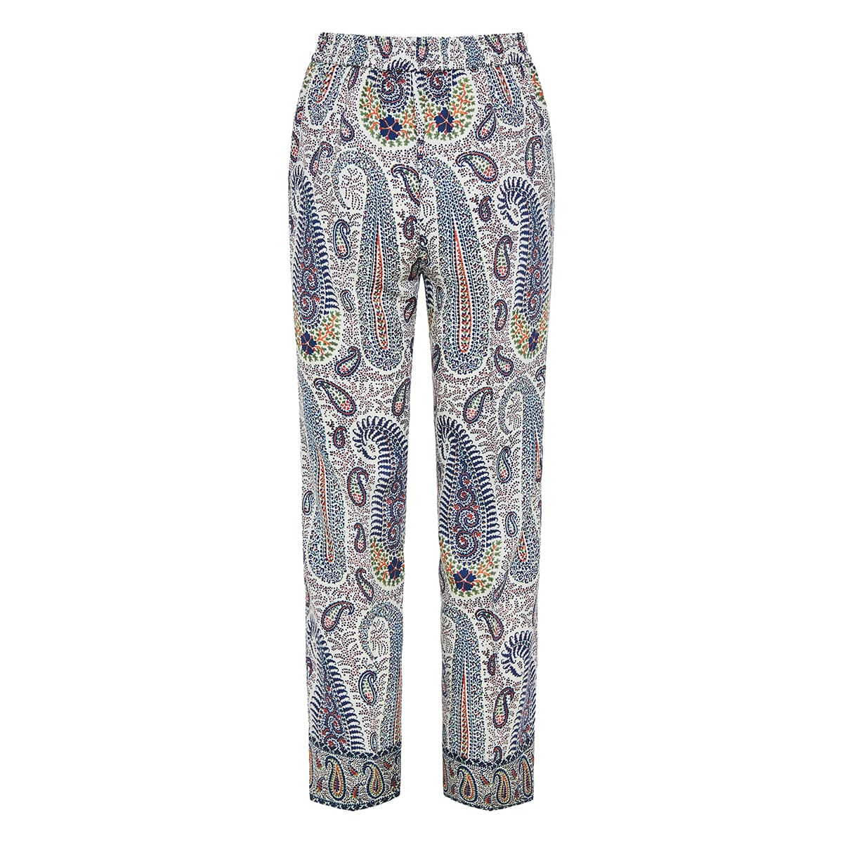 Paisley printed slip-on trousers