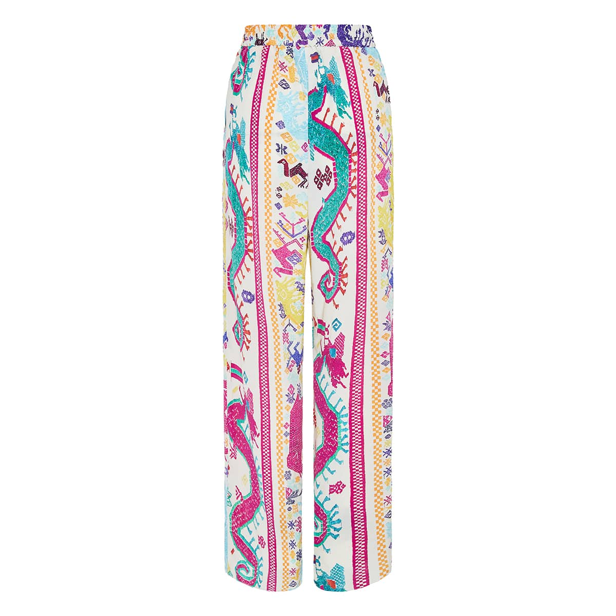 Embroidery-effect printed wide-leg trousers
