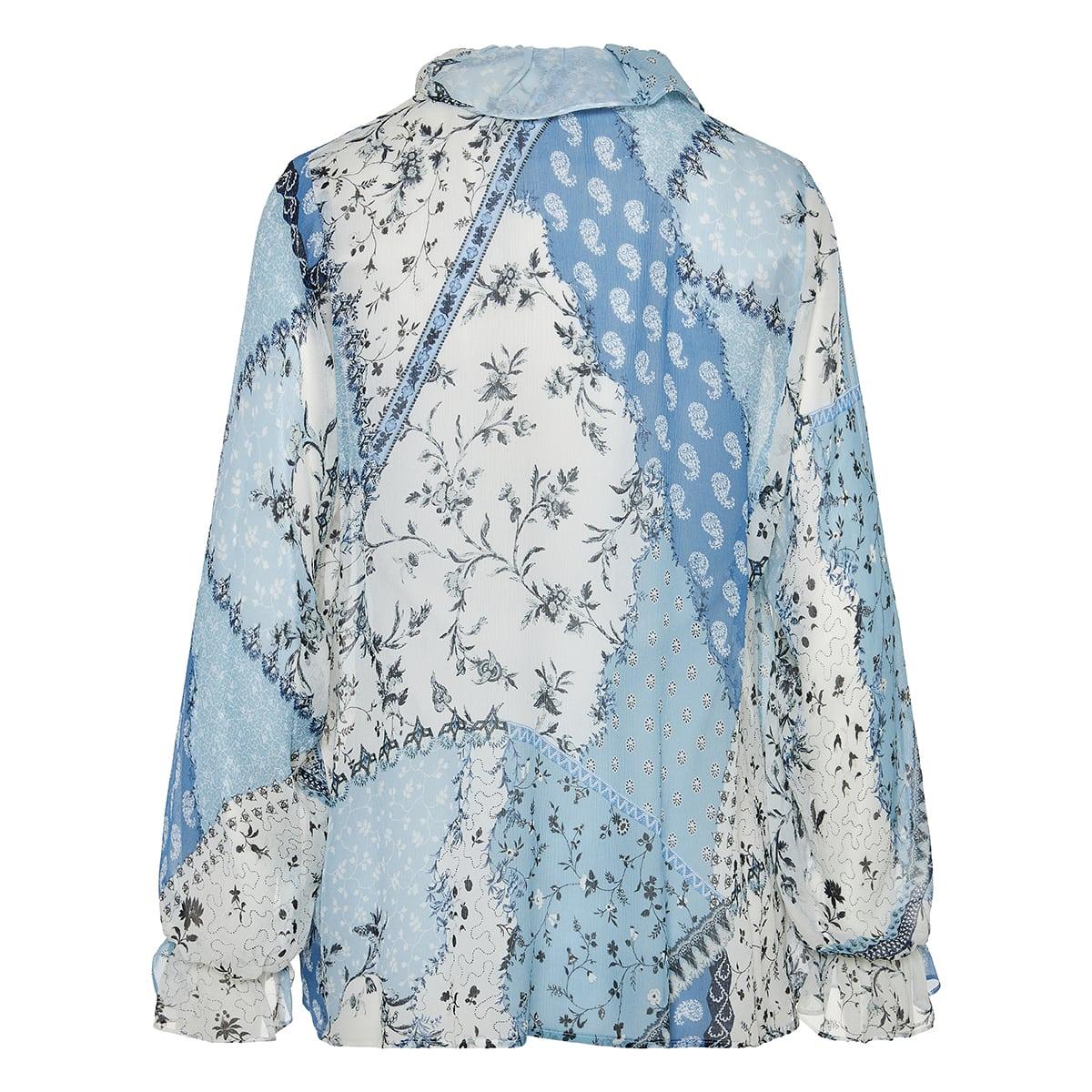 Patchwork-print ruffled shirt